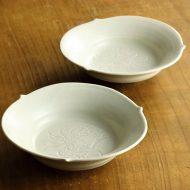 w3637-45-2 φ14.2x4.1白花刻リム鉢