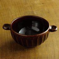 w3659-90-1 φ12.0x3.2濃茶しのぎ両手つき鉢