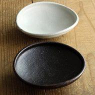 w3675 たわみ浅小鉢 黒、白(八木橋 昇)