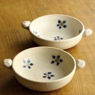 w3707k-30-2 16.0x12.5x3.8粉引き両手つき青花柄スープ鉢