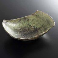 w3715-60-1 15.8x11.2x4.5緑/鉄釉薬変形小鉢