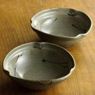 w3719 変形灰釉松葉取鉢