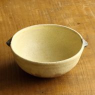 w3727-60-1 14.8x13.6x5.5黄粉引き耳付き鉢