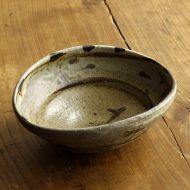 w3734-90-1 15.2x13.3x5.7鉄、白釉薬柄楕円鉢