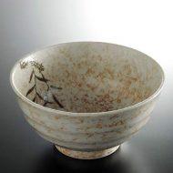 w4003-25-サイズ:φ17.0x8.8白地茶葉柄麺鉢