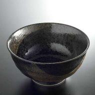 w4004-25-サイズ:φ17.1x8.8黒釉茶刷毛目麺鉢