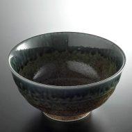 w4005-20-サイズ:φ17.3x8.9藍釉薄茶丼