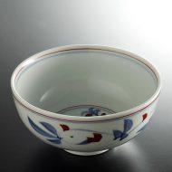 w4024-40-サイズ:φ15.2x7.5秀山赤絵染付麺鉢