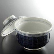 w4094-60-サイズ:φ13.7x11.5藍ふた付丼
