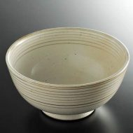 w4118-80-サイズ:φ16.0x8.0粉引茶ライン丼