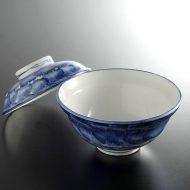 w4134y-45-サイズ:φ14.7x7.0藍刷毛目ふた付き丼