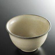 w4147-55-サイズ:φ13.8x7.8粉引き縁ねずみライン小丼
