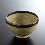 w4156-100-サイズ:φ16.3x9.7薄茶茶縁どり丼
