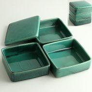 w4502-250-1 一段16.3x16.3x5.5ルビー陶器三段重箱