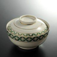 w4532-80-1 φ10.3x8.5緑柄金彩ふた付鉢