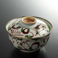 w4556-75-1 φ13.0x8.5赤絵ふたつき鉢