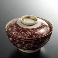 w4566-120-10 φ12.8x6.5赤地唐草紋ふた付鉢