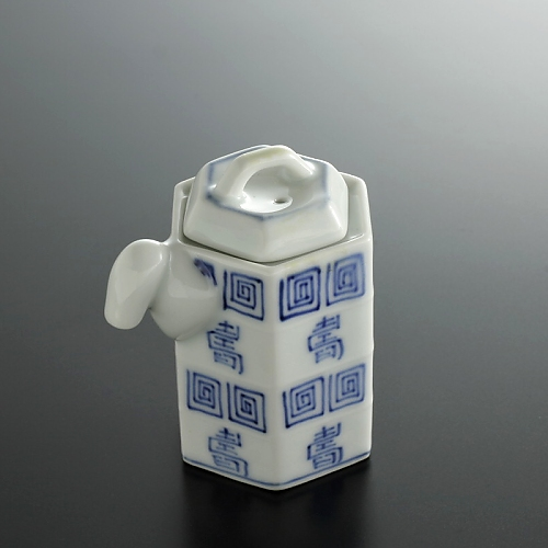 w5041k-100-1 6.8x4.2x7.3有田染付雷紋醤油