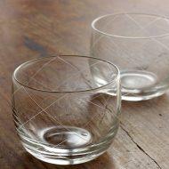 w6044 格子柄ガラス冷茶椀