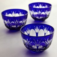 w6046 切子藍冷茶グラス