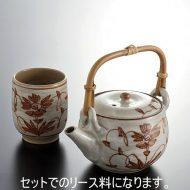w6076-120-1 φ6.3x7.514.3x9.5x12.6京焼草花湯のみ 急須