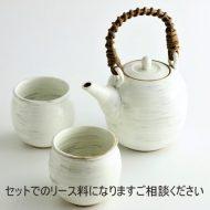 w6132-160-1 φ7.5x7.013.5x10.0x16.8粉引き刷毛目茶器
