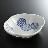 w7045-55-1 16.0x14.5x3.5丸紋染付花形楕円鉢