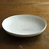 w7195-110-1 21.0x17.5x4.3マット楕円白鉢 (河上奈未)
