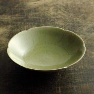 w7327-120-1 φ15.4x4.5薄みどり輪花鉢(安齋新・厚子)