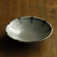 w7358y-100-1 φ15.5x3.8灰釉十草平鉢