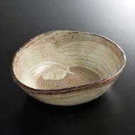 w7368-45-1 15.5x13.8x4.8変形薄茶白刷毛目鉢