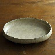 w7433-135-1 17.5x14.3x6.0粉引きグレー楕円浅鉢(井内素)