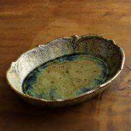 w7436-360-1 23.2x17.3x5.2縁花刻楕円ガラス釉鉢(イム サエム)