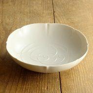 w7503-200-1 φ18.9x5.3骨董白磁つる大鉢