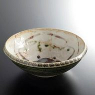 w7531-120-1 φ21.7x7.5織部印花蟹7寸鉢