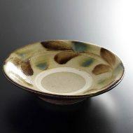 w7551-75-1 φ22.0x5.5琉球焼き色彩刷毛目平鉢
