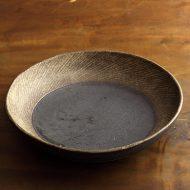 w7562-150-1 φ24.0x4.8茶縁斜めライン大鉢(藤井 博文)