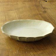 w7567-150-1 25.5x18.7x3.8粉引き外しのぎ楕円鉢(二川 修)