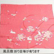 w8072-90-1 68x68ピンク桜、うさぎ風呂敷