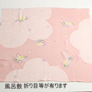 w8077-90-1 72x72薄ピンク梅模様ちりめん風呂敷