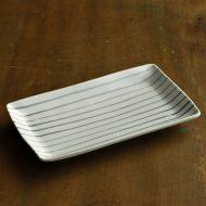 w8269-90-1 16.7x9.7粉引きグレーライン長皿