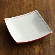 w8621-60-1 16.5x16.5x3.7朱折線角皿