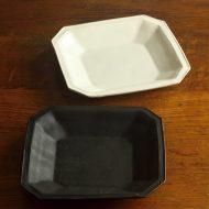 w8645-90-1 16.0x15.7x2.3マット白、黒八角角皿 (井山 三希子)