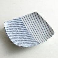 w8648j 白山陶器染付斜め柄角皿