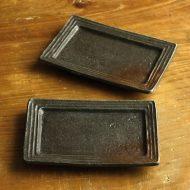 w8749-15-2 16.3x11.2黒/茶長角小皿