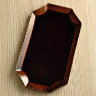 w8756-120-1 26.5x15.0x1.2濃茶額縁陶長方皿(安齋 新 厚子)