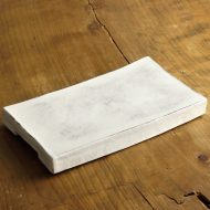 w8758-100-1 22.8x12.7x2.8白釉薬刷毛目長角平皿