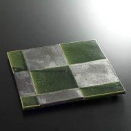 w8805-100-1 25.5x25.5織部黒素焼き市松正方まな板皿