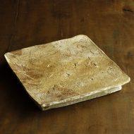 w8812-300-1 25.7x25.2x3.4薄茶粉引まな板正方皿