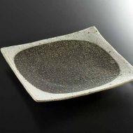 w8814-90-1 21.8x21.8粗目粉引き中黒角皿